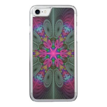 Mandala from the Center Colorful Fractal Art Carved iPhone 7 Case