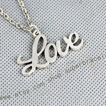 "LOVE, Antique Silver necklace, ""women cuff necklace, express Personalized Jewelry, bridesmaid gift, Christmas gift"