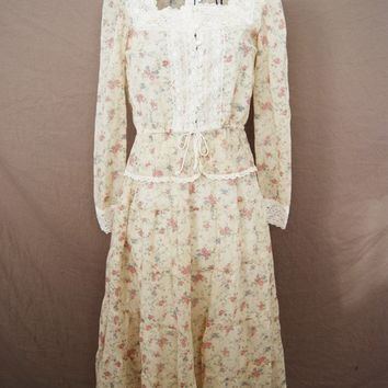 vintage Prairie Blouse and Skirt - 70s Gunne Sax Blouse and Skirt - Sheer Ivory Rose Set Sz XS