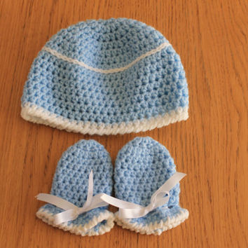 Blue and White Crochet Baby Boy Hat and Mittens Set