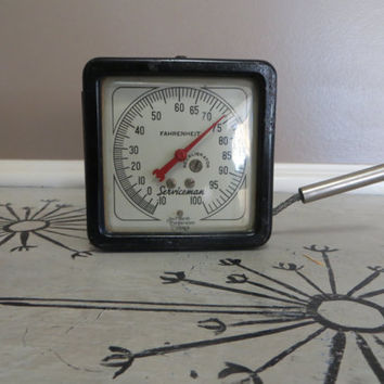 Metal Thermometer Antique Thermometer Black Fahrenheit Indoor Outdoor Thermometer Shabby Decor Serviceman Chicago Industrial Decor