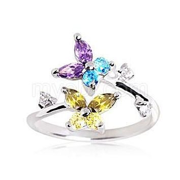 .925 Sterling Silver Multi Color CZ Butterflies Toe Ring
