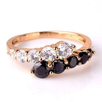 """""""Date at Eight"""" 1.3ct Black and White CZ Cocktail Ring"""