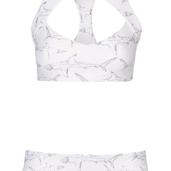 **Shark Print Bikini Crop Top And Bottoms Set by Boys + Arrows