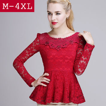 2016 Spring women lace shirt Fashion Casual Hollow sexy Diamond women tops plus size