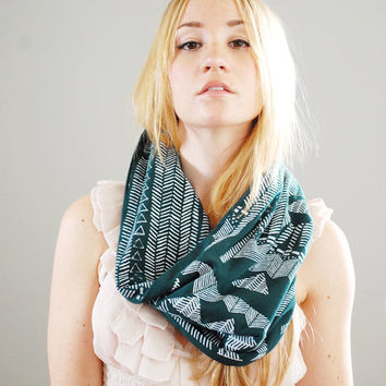 Going Hunting - Peacock and White - print modern jersey hand printed circle cowl scarf - by Simka Sol