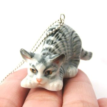 Kitty Cat Porcelain Ceramic Animal Pendant Necklace with Playful Crouching Pose | Handmade