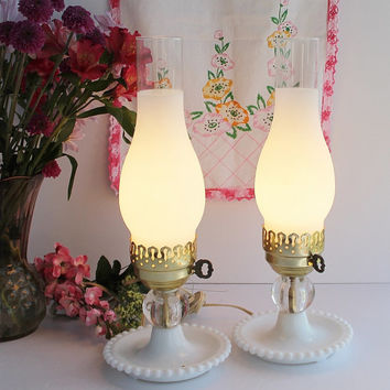 Pristine Pair Vintage Electric Hurricane Lamps / Frosted, Clear, Milk Glass / Crystal Ball Beaded Base / Shabby Cottage Chic Christmas Gift