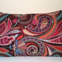 "Handmade Pillow Cover - Multi Color Paisley - READY TO SHIP - 12"" X 20"" Lumbar, Rectangle, Oblong with Envelope Closure"