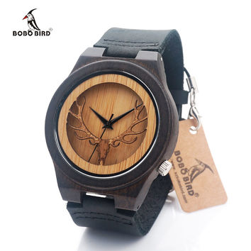 BOBO BIRD Leather Strap Black Wooden Quartz Watches Hollow Design
