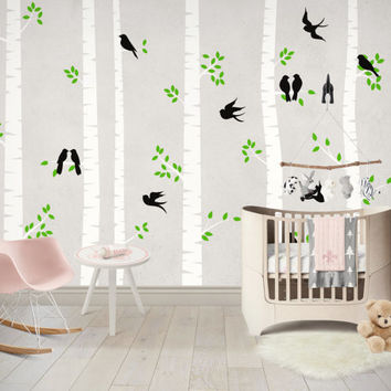 Birch Tree Wall Decal, Tree Wall Sticker Set, Birch Tree With Birds Wall Sticker Set, Birch Tree Decal, Baby Nursery Wall Stickers