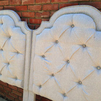 Pair Twin Tufted Headboards Twin Full Queen King Bed Any Size Pair Gray Metallic Linen Rhinestone Button Nailhead Trim BY CUSTOM ORDER