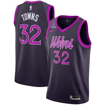 Men's Minnesota Timberwolves #32 Karl-Anthony Towns  Nike Purple 2018/19 Swingman Jersey – City Edition - Best Deal Online