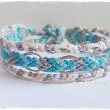 Knots for a Cause - Grey, White, LightBlue Macrame Knotted Friendship Bracelet - Ready To Ship