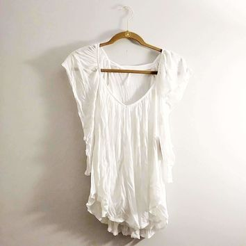 Women's Free People Ivory Flutter Sleeve Top