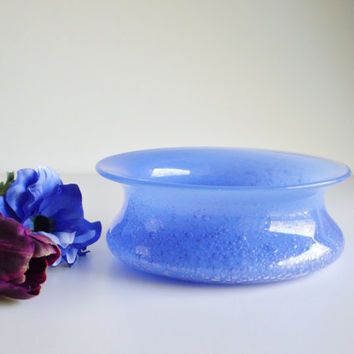 Vintage Orrefors Ingeborg Lundin Bubble Bowl - Signed - Periwinkle Blue Collectible Mid Century Scandinavian Glass