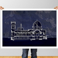 Poster Print wall Art Cross section Astrophysical Observatory Potsdam