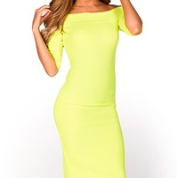 Kimberly Neon Lime Green Bodycon Off Shoulder Dress with Sleeves
