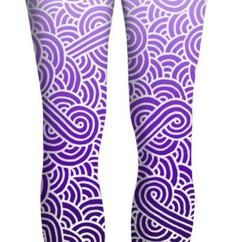 Ombre purple and white swirls doodles Yoga Pants