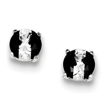 925 Sterling Silver Black & White Synthetic Cubic Zirconia Basket Set Stud Earrings
