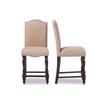 Beige Linen Fabric Upholstered Counter Height Dining Chair (Set of 2) By Baxton Studio