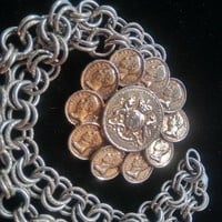 ON SALE Signed Reinad 5th Ave NY Vintage Heraldic Jewelry Coin Lion Crown Coat Of Arms Vintage Necklace 1960's 1970's
