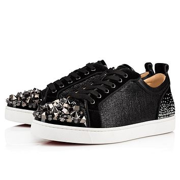 Christian Louboutin Cl 19s Louis Junior Mix Degra Flat Glitter Wet Black/black Gun Sneakers