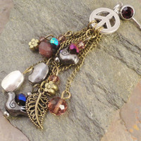 Peace Sign Charm Belly Button Jewelry Ring