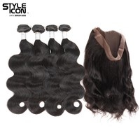 Styleicon Brazilian Body Wave Human Hair Weave 2 3 4 Bundles With Lace Frontal Closure 360 Lace Frontal With Bundles Non Remy