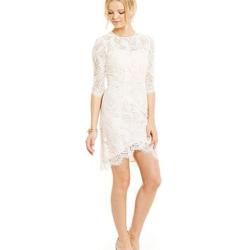 Jodi Kristopher Envelope Hem Lace Sheath Dress | Dillards