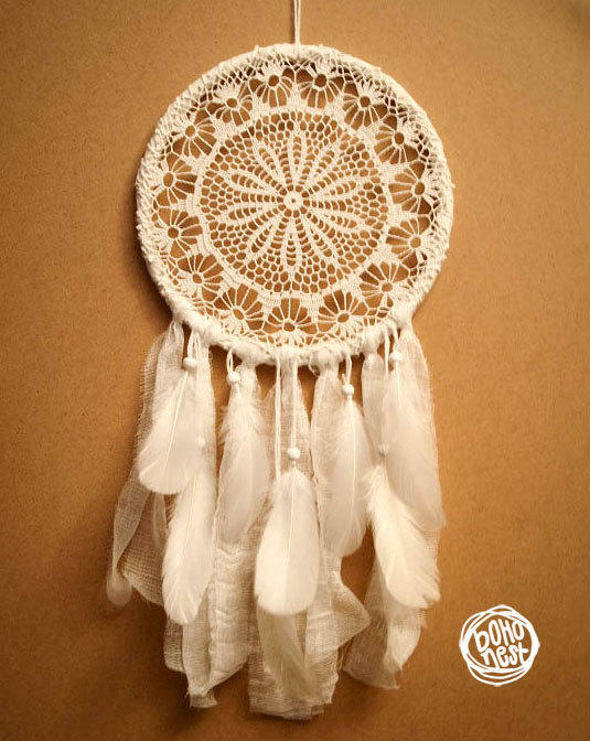Dream Catcher White Flower Unique From Bohonest On Etsy