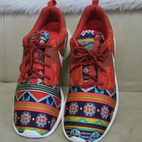 Mens Nike Cinnabar-Hay-Orange Custom Tribal Native Aztec Print Roshe