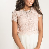 Ellie Blush Short Sleeve Lace Top