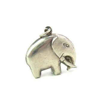 Sterling Silver Elephant Charm. Good Luck African Pachyderm Animal Pendant. Minimalist Puffy Styling. Vintage 1970s Mod Jewelry
