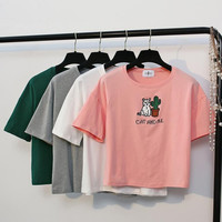 Embroidery Short Sleeves T-shirt Crop Top