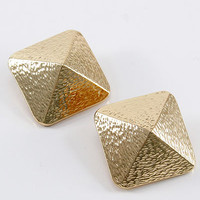 Gold Geometric Square Clip-on Earrings