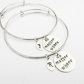 Personalized Best Friends Bangle Bracelet Set 2 Friendship Bracelets Jewel
