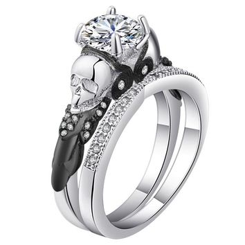 Skull Ring Sets Rhodium Plated big clear cz crystal Women's Wedding promise Ring Punk