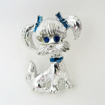 Vintage Gerry's Poodle Brooch, Silver Tone Poodle Pin, Figural Brooch