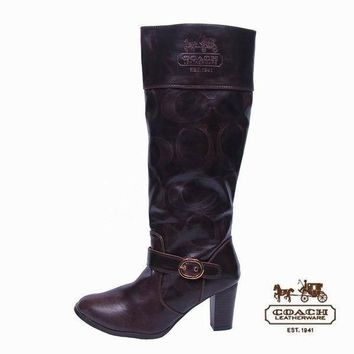 Coach Women Fashion Leather Tube in Boots Heels Shoes1