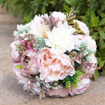 Pink Real Touch Flowers Peony Bouquets for Wedding Peonies Bridal Bouquets Wedding Centerpieces Home Decoration 2 Styles FE47