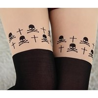 Black White Sexy Skull Cross Mock Knee High Hosiery Pantyhose Tattoo Contrast Tights