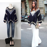 2015 New Women's Double V-neck  Loose Knit Sweater Bat Sleeve Ladies Sweater = 1945797508
