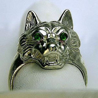 SS-2148 Wolf Werewolf eyes Emerald Ring Gothic Lycan Jewelry Pick Your Ring Size We Have Sizes 3 to 14
