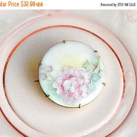 SALE Antique Victorian Hand Painted Porcelain Brooch, Vintage Victorian Pink Roses Flower Pin.