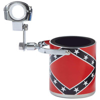 Diamond Plate™ Stainless Steel Rebel Flag Motorcycle Cup Holder