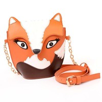 Fox Wolf Shaped Animal Themed Cross body Shoulder Bag for Women