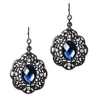 1928 Black-Plated Blue Acrylic & Glass Dangle Earrings
