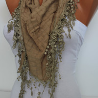 Triangle Shawl Scarf  Headband  Cowl with Lace Edge -Autumn winter Trends