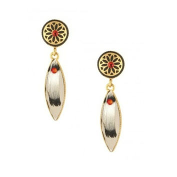 Indian Amazon White Pierced Earrings by Satellite Paris